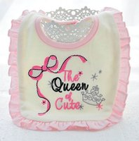 beautiful baby bibs - The queen Embroidery newborn bibs beautiful flower design button style two layer cotton baby burp cloths