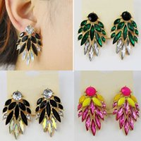 Wholesale ShineLi Fashion Beautiful Occident Exquisite Crystal Earrings Stud Earrings Book
