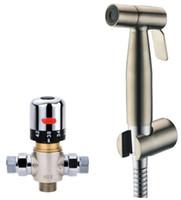 Wholesale Bathroom Brushed Nickel Shattaf Toilet Bidet Sprayer Set With Hot Cold Water Mixing Valve Kit