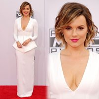 Cheap 2014 American Music Awards White Prom Celebrity Dresses with V Neck Long Sleeve Mother Dresses Long Peplum Red Carpet Gowns