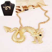 Cheap 18pcs lot Ladies Alloy Necklace Chinese Zodiac Dragon Neck Chain Sweater Chain Party Stage Jewelry jn108