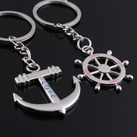 Wholesale by FEDEX pairs Zinc Alloy Anchor And Rudder Keychain Metal Keyring For Lovers as Wedding Gift