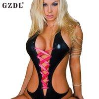 stripper wear - 2015 New Women Female Bodycon Rubber Leopard Party Sexy PU Leather Dress Stripper Wear Bobydoll Lingerie Teddies Bodysuits
