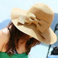 Wholesale Women Summer Beach Sun Hat Fashion Bow Wide Large Brim Straw Women Hats Casual Protecting Sun Women Caps