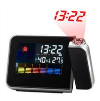 Cheap Freeshipping Cheap Digital LCD Screen LED Projector Alarm Clock Mini Desktop Multi-function Weather Station Dropshipping