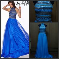 evening wear - Real Image High Collar Crystal Evening Dress Jeweled Bodice Sweep Train A line Opulent Prom Dresses Custom Made Evening Gown Wear with Stone