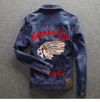 asian mens clothes - Denim Jacket Indians Pattern Embrodery Slim fit Vintage Mens Coat Qutwear Jeans clothing Spring Autumn Asian Size M XXL