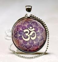 Wholesale Om Necklace Yoga Jewelry Purple Lotus Flower Om Symbol Buddhism Zen Art Pendant