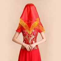 Wholesale NEW Chinese Traditional Red wedding Veil Red Bridal Veil Satin Tassel