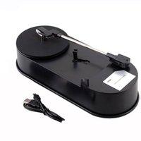 Wholesale Newest USB Portable Mini Phonograph Vinyl Turntable Audio Player Vinyl Turntable to MP3 WAV CD Converter RPM Black D5206A