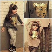 Wholesale 2015 Girls clothing set girls suits cartoon children clothing leopard kids suits retail children clothing set High quality