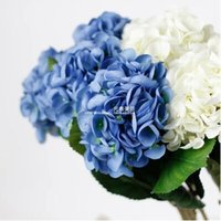 Wholesale cm length white real touch artificial flowers hydrangea silk flowers for wedding party Christmas decoration