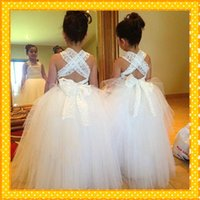 Wholesale Kids Dresses Cheap Prices - Crisscross Back Long Lace Princess Flower Girls Dresses 2016 Ball Gown Tulle Cheap Price Floor Length Formal Kids Wear Pageant Gowns