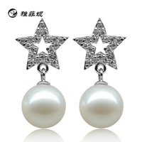 Wholesale Yafei Ni natural freshwater pearl earrings sterling silver earrings the stars flawless perfect circle female models earrings to send his