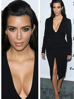 Cheap Reference Images Long Sleeve Evening Dress Best V-Neck Elastic Satin Kim Kardashian Dress