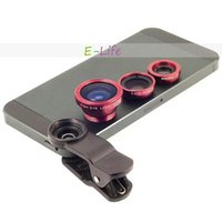 Cheap Fish Eye+Macro+Wide Angle Universal 3 In 1 Mobile Phone Lens camera Kit Set for Samsung s3 s4 i9300 i9500 n7100 HTC IPHONE LG