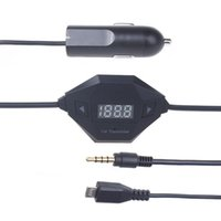 Wholesale 3 mm Audio MicroUSB FM Transmitter Car Charger Samsung GalaxyAndroid SmartPhon