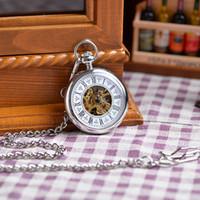 antique clock case - Chain White Silver Case Fashion Vine Antique Pocket Watch Mechanical Analog Display Pendant Watch Clock Wholesales Hot Sales