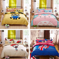 bedding bedskirt - cotton cartoon set children s bedding set three piece suit boys and girls UK wind bedskirt bed sheet duvet cover