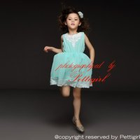 baby blue shop - Pettigirl Retail Summer Arrivals Girl Dress Sleeveless Floral Blue Chiffon For Casual Kids Dress Baby Wearing Drop Shopping GD50312