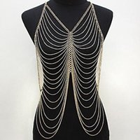 Wholesale Silver Gold Body Chains Women s Fashion Multi Curb Chain Metal Tassel Body Chain Belly Chain Harness Pendants Jewelry Strands Strings