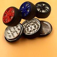 56mm 3 partes tabaco vaporizador pipa de fumar shisha manivela molinillo de tabaco hierba metal de la aleación de zinc de neumático usada rodar píldora inyector bo