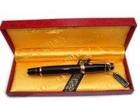 Wholesale Crocodile Fountain Pen Black Ruby Gold Ring wooden gift box Medium Nib CR28