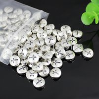 Wholesale Antique Silver Flat Round Beads Crosses Beads DIY Accessory K00122