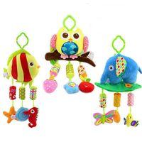 baby crib musical mobile - 2015 New Baby plush musical windbell Multifunction Animal rattle Toddler infant Stroller Crib Pram toy Hanging mobile Toys