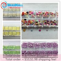 Wholesale Min order mm mm mix size imitation ABS pearls half round flatback pearl beads collection with box for scrapbooking