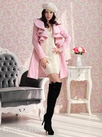 Wholesale 2015 Hot Europe And America Autumn Winter Newest Lapel Neck Outerwear Coat Long Trench Coat Wool Blend Ruffle Style Multicolor Slim Coat