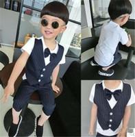 Wholesale 2015 Cute Bow Tie Sets Summer Children Gentleman Flase Waist Coat Design Clothes Kids Navy Short Sleeve T shirt Half Pant