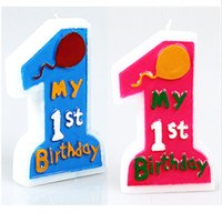 Wholesale My st Birthday Candle Boy Girl Creative Converting Fun at One Happy First Birthday Girl Molded Candle Kids Party Favor Sets
