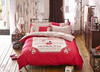 Cheap 100% Cotton Bed clothes Duvet cover set marilyn monroe print Bedding set 4PCS Duvet cover Bed linens