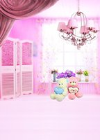 baby room curtains - 200cm cm ft ft Fundo Pink Baby Room Curtain pendant lamp Bear photography backdrop background for photo studio AY