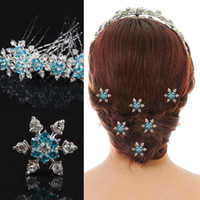 Wholesale 2015 new Snowflake Frozen Hair Women s Bridal Wedding Hair Jewelry Frozen Elsa Rhinestone Snowflake U Hairpin Party Cosplay Props