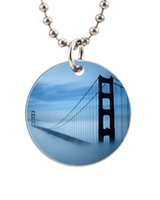 aluminum gate designs - San Francisco Golden Gate Bridge Cloud Customized Colorful Design round Dog Tag Necklace Aluminum Tag for Animal Pets Tag
