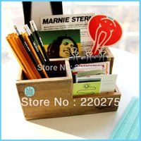 Cheap Zakka wool desktop storage box coffee table remote control box office pen cosmetics vintage debris wooden pencil box