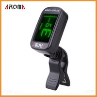 Wholesale Aroma AT V Clip on Electric Tuner TWO Colors Backlit LCD Screen for Chromatic Violin Viola Cello Tuner Universal Via DHL