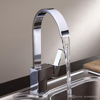 Wholesale Kitchen Sink Faucets Free Rotatable Waterfall Spout Single Handle Hose Chrome Polished Brass Deck Mounted Wash Mixers Furnitures