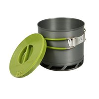 anodized pots - 1 L Portable Anodized Aluminum Outdoor Camping Cookware Heat Collecting Exchanger Cooking Pot with Mesh Bag for People