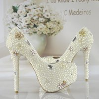 Cheap Summer pure crystal pearl wedding shoe diamond bride shoes white high-heeled party dresses picture taken shoes