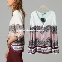 Cheap High Quality Camisa Femininas Women Vintage V neck Floral Blouse Long Sleeve Casual Shirt Tops Blusa De Renda SV11 SV012249