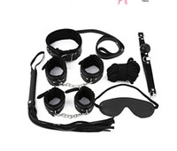 Cheap Adult Game 7 Pcs Erotic Toy BDSM Fetish Role Play Sex Products for Couple PU Leather Handcuffs Whip Mask Collar Bondage Kit