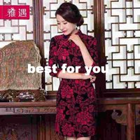 Wholesale 2015 new autumn and winter gold velvet lace embroidery cheongsam improved cheongsam dress short paragraph dress big yards mother dress