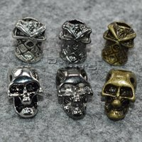 Wholesale 10pcs Vertical Hole Charm Metal Skull Ninja Beads for Paracord Lanyards