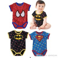 Wholesale 6 designs Baby One Piece baby Rompers boys girls Superman style Romper Super Man Rompers Batman Clothes B194