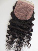 Cheap Brazilian deep curly silk base closure,Brazilian virgin hair silk base closure,100% human hair closure,invisible knots,silk closure
