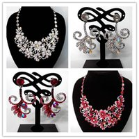 Wholesale Mixed Color Wedding Jewelry Sets Rhinestone Pendants Best Jewelry Sets Alloy Plate Bridesmaid Jewelry Sets YZT4