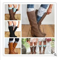 Wholesale 2015 colors Women s Fashion Flower Stretch Lace Boot Cuffs Toppers Leg Warmers Socks stockings cm A238